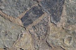 Grijze textuur van ruwe steen op de weg royalty-vrije stock fotografie
