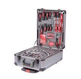 Grijze toolbox met instrumenten Stock Foto