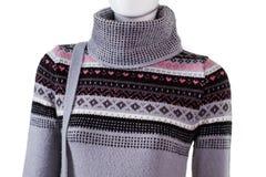 Grijze trui met hoge kraag royalty-vrije stock foto