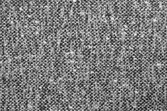 Grijze tweedtextuur, grijs wolpatroon, geweven zout en zwart-witte melange van de peperstijl stof, horizontale achtergrond Stock Fotografie