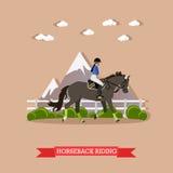 Grijze van de raspaard en dame jockey, Horseback het berijden concept, vector vector illustratie
