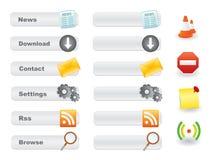 Grijze websiteknoop die met pictogrammen wordt geplaatst Stock Foto's