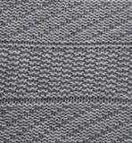 Grijze wol met de hand gebreide textuur abstracte achtergrond Royalty-vrije Stock Foto