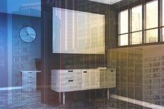 Grijze woonkamer, affiche, gestemde kastkant Stock Foto