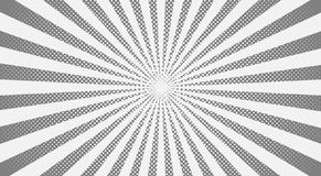 Grijze zonnestralen halftone achtergrond Vector illustratie royalty-vrije illustratie