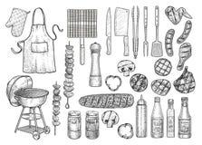 Gril, équipement de barbecue, outil, illustration, dessin, gravure, encre, schéma, vecteur illustration stock