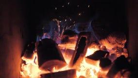 Gril argentin de flammes et de braises rouges Préparation du feu et de gril pour le barbecue au restaurant Grill, boeuf de Kobe banque de vidéos