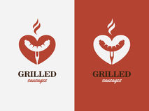 Gril, BBQ, symbole d'amour de hot-dog Logo d'aliments de préparation rapide Photos stock