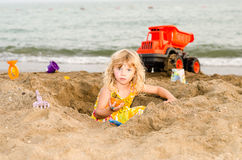 Gril on beach royalty free stock photography