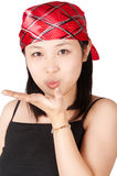 Gril blowing a kiss Stock Image