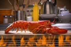 Gril cuit à la vapeur frais de homard et de barbecue photo stock