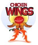 Gril d'ailes, poivre de piment et hamburger Image libre de droits