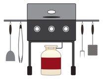 Gril de barbecue avec des outils illustration de vecteur