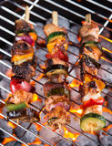 Gril de barbecue avec les brochettes savoureuses image libre de droits