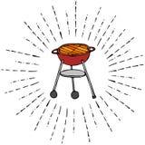 Gril de BBQ dans des rayons de Sun pour le menu de partie d'été D'isolement sur un fond blanc Croquis tiré par la main Vect de gr Images stock