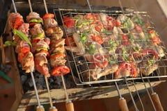 Gril de charbon de poulet et de viande Image libre de droits