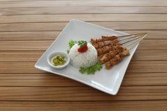 Gril de poulet de riz de Satay Images stock