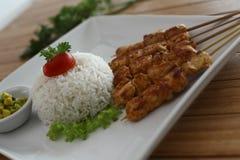 Gril de poulet de riz de Satay Photos stock