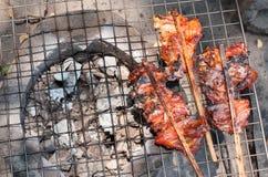 Gril de poulet sur le feu Photos stock