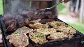Gril, faisant frire la viande fraîche, barbecue de poulet banque de vidéos