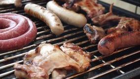 Gril, faisant frire la viande fra?che, barbecue de poulet clips vidéos