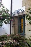 Gril fleuri de fer de fenêtre Photographie stock