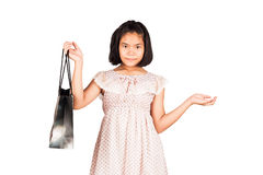 Gril hold bag shopping isolate background Royalty Free Stock Photo