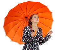 Gril with orange umbrella Royalty Free Stock Image