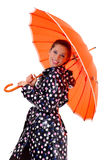Gril with orange umbrella Royalty Free Stock Photography