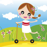 gril with scooter vector illustration