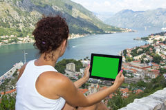 Gril with tablet computer with green screen Stock Photography