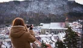 Gril taking a photo of old city Stock Photos