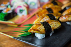 Griled foie gras sushi Royalty Free Stock Photos