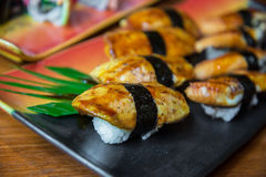 Griled foie gras sushi Royalty Free Stock Photo