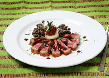 Griled meat picanha with shimeji salad Stock Image
