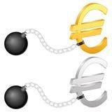 Grilhões com euro- símbolo Fotografia de Stock Royalty Free
