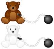 Grilhões com urso de peluche Foto de Stock Royalty Free