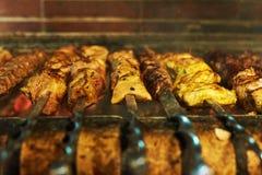 Grillów mięsa na mierzei podpalać Zdjęcie Stock
