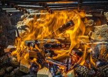Grillów płomienie Fotografia Royalty Free