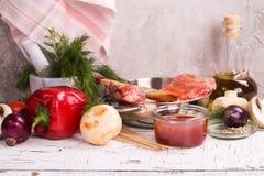 Grillów składniki nad kamiennym tłem Fotografia Stock