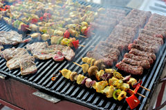 Grillów warzywa i mięso Zdjęcie Royalty Free