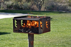 The grill. The hot grille in a public park Stock Photo