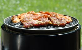Grill. Meat on grill on BBQ royalty free stock photo