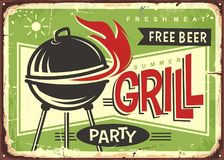 Grill appliance with red fire flames. On summer green background. Barbecue party retro sign design Royalty Free Stock Photos