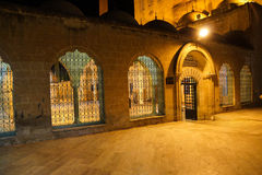 Grill and arch of inner courtyard. Makam Ibraham Camii (Abraham's hiding place) in Sanliurfa,  Turkey Stock Photography