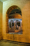 Grill and arch of inner courtyard. Makam Ibraham Camii (Abraham's hiding place) in Sanliurfa,  Turkey Royalty Free Stock Photo