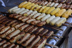The grill bananas. On the stove,Thailand market Royalty Free Stock Photography