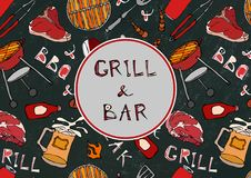 Grill Bar. Seamless Pattern of Summer BBQ Grill Party. Beer, Steak, Sausage, Barbeque Grid, Tongs, Fork. Black Board Background an. Grill Bar. BBQ and Grill vector illustration