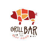 Grill bar best food estd 1969 logo template hand drawn colorful vector Illustration. For menu, restaurant, cafe, bistro Stock Photography