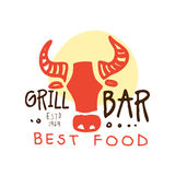Grill bar, best food logo estd 1969 template hand drawn colorful vector Illustration. For menu, restaurant, cafe, bistro Royalty Free Stock Photo
